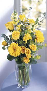 Sivas çiçekçiler  sari güller ve gerbera cam yada mika vazo
