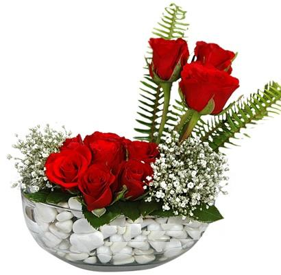 cam içerisinde 9 adet kirmizi gül  Sivas internetten çiçek satışı