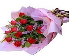 11 adet kirmizi güllerden görsel buket  Sivas online çiçekçi , çiçek siparişi
