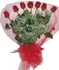 7 adet kipkirmizi gülden görsel buket  Sivas hediye sevgilime hediye çiçek