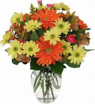 Sivas uluslararası çiçek gönderme  vazo içerisinde karışık mevsim çiçekleri