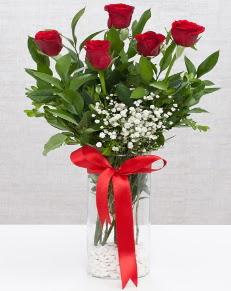 cam vazo içerisinde 5 adet kırmızı gül  Sivas çiçek siparişi vermek