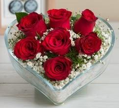 Kalp içerisinde 7 adet kırmızı gül  Sivas online çiçekçi , çiçek siparişi