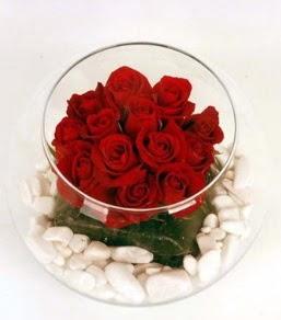 Cam fanusta 11 adet kırmızı gül  Sivas İnternetten çiçek siparişi