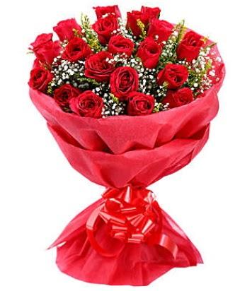 21 adet kırmızı gülden modern buket  Sivas İnternetten çiçek siparişi