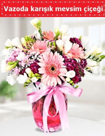 Vazoda karışık mevsim çiçeği  Sivas çiçek gönderme
