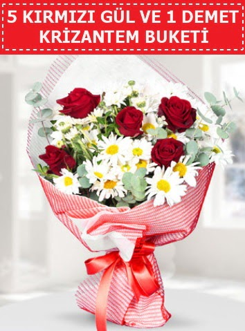 5 adet kırmızı gül ve krizantem buketi  Sivas çiçek yolla