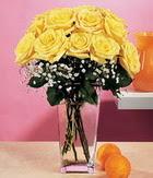 Sivas hediye çiçek yolla  9 adet sari güllerden cam yada mika vazo