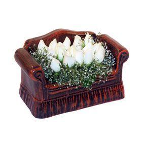 seramik içerisinde 11 gül  Sivas çiçek satışı