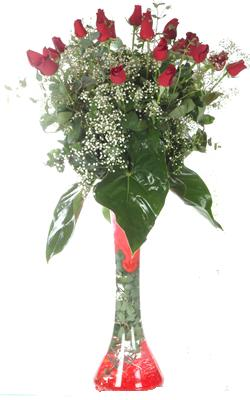 Sivas online çiçek gönderme sipariş  19 ADET GÜL VE FIL CAM AYAGI