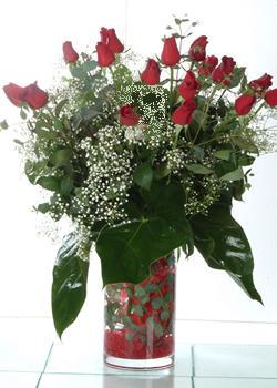 Sivas çiçek servisi , çiçekçi adresleri  11 adet kirmizi gül ve cam yada mika vazo tanzim