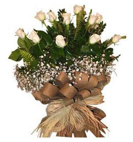 Sivas çiçek gönderme sitemiz güvenlidir  9 adet beyaz gül buketi