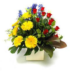 Sivas çiçekçiler  9 adet gül ve kir çiçekleri cam yada mika vazoda