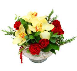 Sivas İnternetten çiçek siparişi  1 adet orkide 5 adet gül cam yada mikada