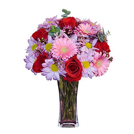Görsel hediye karisik cam mevsim demeti  Sivas çiçek , çiçekçi , çiçekçilik