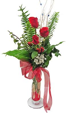 Çiçek gönderin cam vazoda 3 gül çiçekleri  Sivas ucuz çiçek gönder