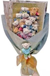 12 adet ayiciktan buket tanzimi  Sivas internetten çiçek siparişi