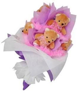 9 adet ayiciktan buket  Sivas uluslararası çiçek gönderme