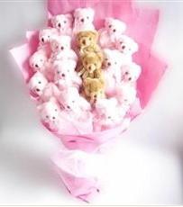 17 adet pelus ayicik buketi  Sivas yurtiçi ve yurtdışı çiçek siparişi