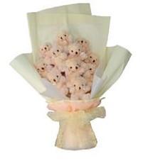 11 adet pelus ayicik buketi  Sivas çiçekçi telefonları