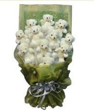 11 adet pelus ayicik buketi  Sivas çiçekçiler