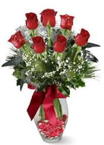 Sivas çiçek siparişi sitesi  7 adet kirmizi gül cam vazo yada mika vazoda
