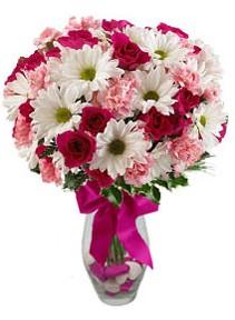 Sivas ucuz çiçek gönder  Karisik mevsim kir çiçegi vazosu