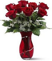 Vazo içinde 8 adet kirmizilar içinde güller  Sivas çiçek siparişi sitesi