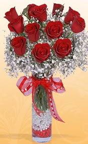 10 adet kirmizi gülden vazo tanzimi  Sivas ucuz çiçek gönder