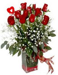 Sivas internetten çiçek satışı  9 adet mika yada cam vazoda gül tanzimi kalp çubuk
