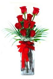 Sivas çiçek gönderme sitemiz güvenlidir  9 adet mika yada cam vazoda gül tanzimi