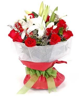 Sivas çiçek satışı  1 dal kazablanka 11 adet kırmızı gül buketi