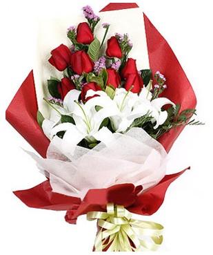 Sivas çiçekçi mağazası  1 dal kazablankaa 9 adet kırmızı gül buketi