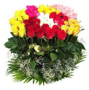 Sivas hediye sevgilime hediye çiçek  51 adet renkli güllerden aranjman tanzimi