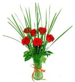 Sivas çiçek gönderme  6 adet kırmızı güllerden vazo çiçeği