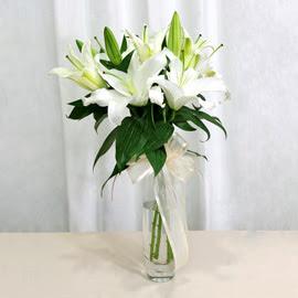 Sivas cicekciler , cicek siparisi  2 dal kazablanka ile yapılmış vazo çiçeği