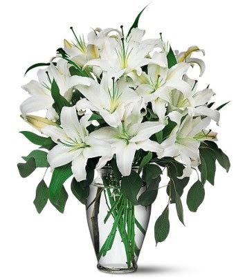 Sivas hediye çiçek yolla  4 dal kazablanka ile görsel vazo tanzimi