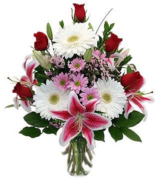 Sivas hediye sevgilime hediye çiçek  1 dal kazablanka 5 gül ve kırçiçeği vazosu