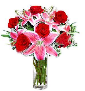 Sivas çiçek yolla , çiçek gönder , çiçekçi   1 dal cazablanca ve 6 kırmızı gül çiçeği