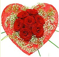 Mika kalp içerisinde 7 adet kırmızı gül  Sivas çiçek , çiçekçi , çiçekçilik