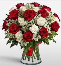 Vazoda 12 kırmızı 12 beyaz gül tanzimi  Sivas online çiçek gönderme sipariş