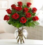 Vazo içerisinde 12 kırmızı gül  Sivas çiçek yolla