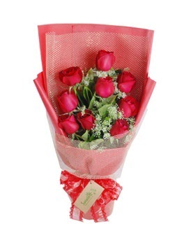 9 adet kırmızı gülden görsel buket  Sivas çiçekçi telefonları