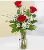 Vazo içerisinde 3 adet kırmızı gül  Sivas çiçek yolla