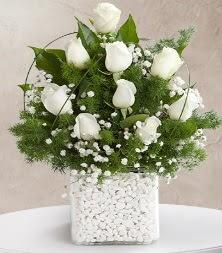 9 beyaz gül vazosu  Sivas çiçek yolla