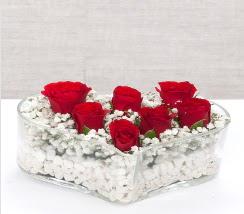 kalp içerisinde 7 adet kırmızı gül  Sivas internetten çiçek satışı