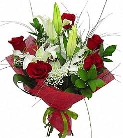 1 dal kazablanka 5 kırmızı gül buketi  Sivas çiçek online çiçek siparişi