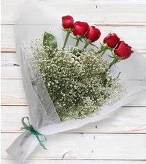 5 kırmızı gülden sade buket  Sivas çiçek yolla , çiçek gönder , çiçekçi