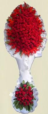 Çift katlı kıpkırmızı düğün açılış çiçeği  Sivas cicekciler , cicek siparisi