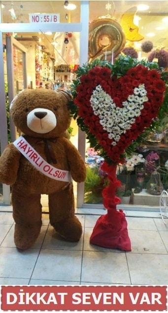 1.5 Metre peluş ayı ve Kalp  Sivas online çiçekçi , çiçek siparişi